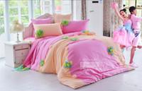 ropa de cama reina amarilla al por mayor-AZUL amarillo coreano Princesa cordón de la colmena falda de la cama equipada sábanas de cama 6 unids conjunto 100% algodón de lujo ropa de cama de encaje rey Queen funda nórdica colchón