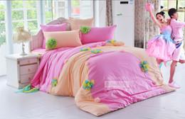 BLAUE gelbe koreanische Prinzessin Spitze Rüsche Bett Rock Spannbettlaken 6pcs Set 100% Baumwolle Luxus Spitze Bettwäsche König Königin Bettbezug Matratze von Fabrikanten