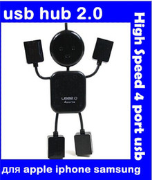 Wholesale Data Switch Port - New Mini PC humanoid usb hub 2.0 High Speed 4 port usb charger Sharing Switch for apple iphone samsung galaxy Free shipping
