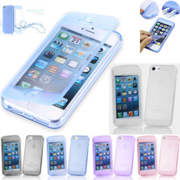 Wholesale Iphone 5c Tpu Case Flip - Slim Transparent Clear Crystal Soft Silicone TPU Rubber Case Flip Cover Skin For iPhone 6 6 Plus 5 5G 5S 4 4S 5C Galaxy S4 S5 NOTE3 NOTE4