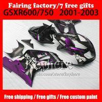 Wholesale Corona Motorcycles Gsxr - 7 gifts Fairing body kit for 01 02 03 SUZUKI GSX-R600 750 fairings GSXR 600 750 k1 2001 2002 2003 Corona purple black motorcycle parts VV452
