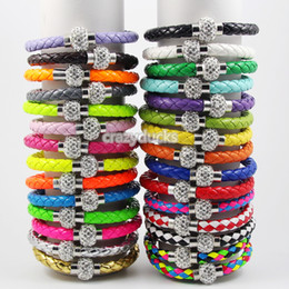 Wholesale Leather Bracelets Magnetic Clasps - 2016 HOT Sells Shamballa Clasp Magnetic With PU Leather Bracelets 29 Colors Top Quailty Free Shipping