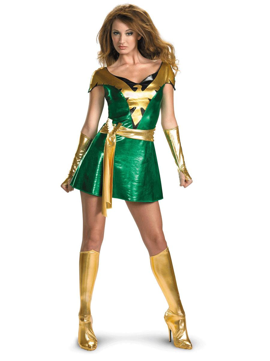 Green & Light Gold Jean Grey Phoenix Shiny Metallic Fresshipping Superhero Dress for Halooween