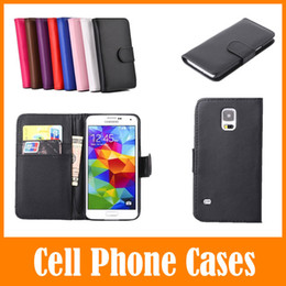 Wholesale S3 Flip Cover White - Color PU Leather Slot Wallet Flip Cover Case For Samsung Galaxy S5 S4 S3 S2 Note 2 3 i9600 i9500 i9300 i9100 Apple iPhone 4 4S 5 5S 5C