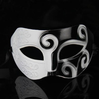 Wholesale Halloween Greek Costumes - Free shipping white and black Roman Greek for Mens Halloween Costume masquerade masks venetian