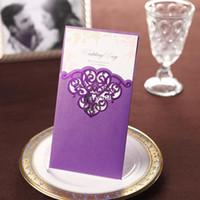 invitaciones de la boda del vintage fijadas al por mayor-Recorte de encaje púrpura de la vendimia libre personalizadas personalizadas impresión de invitaciones de boda tarjetas de encargo (conjunto de 50) envío gratuito
