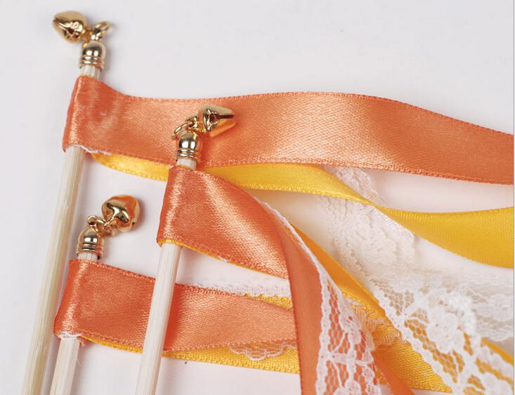 LUXURY lace ribbon streamers wedding sticks wish magic wands with bells confetti party props decoration events wedding favors supplies
