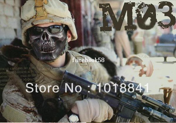 10PCS / LOT Halloween Mascherina di Skeleton Warrior partito maschera protettiva dell'orecchio del CS del cranio dei cavalli dell'esercito di trucco Airsoft Hunting