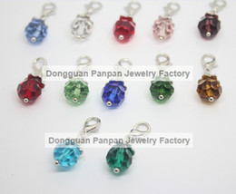 dangle charm floating locket Canada - Panpan hot sale 12 color crystal dangles floating charms for glass lockets