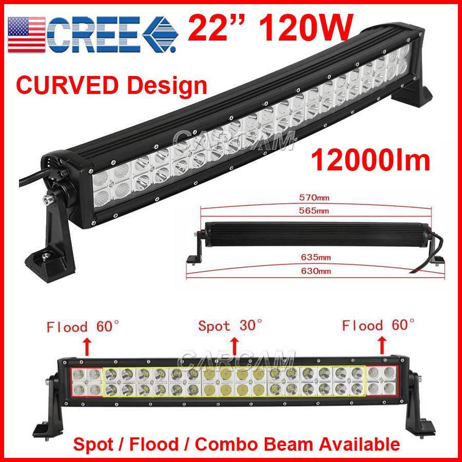 "DHL 22"" 120W CURVED CREE 40LED*3W Work Light Bar OffRoad SUV ATV 4WD 4x4 9-32V Spot / Flood / Combo Beam 9800lm IP68 Drive JEEP NEW Design"