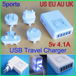 Wholesale Mobile Phone Charger Au Plug - Newnest EU US AU UK Plugs 5 Ports Charger USB Travel Wall power Adapter 5V 4.1A Universal Travel Charger for Mobile Phone Tablet Camera MP4