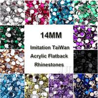 Wholesale Chaton Strass - 14mm 1000 Pcs Round 3D Acrylic Flatback Rhinestone Art Facet Strass Crystal Beads Gems Chaton DIY Phone Case Nail deco Supplies