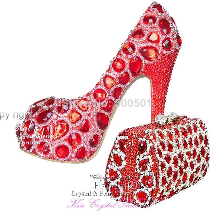 4cd7aaf49b4bb6 Red Women Shoes High Heel Swarovski Crystal Wedding Pumps Platform Peep Toe  Party Shoes With Matching Clutch Bag Italian Shoes Summer Shoes From  Zhongxian8