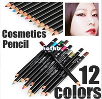 Wholesale Proof Liner - Wholesale-12pcs set Eyeliner Pencil Water Proof Make up Eye liner Tools 12colors 3g Long-Lasting Eye liner Pen Portable