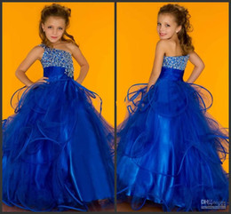 Wholesale Ruffle One Shoulder Girls Dress - Hot 2015 New beaded little Kids Pageant Dresses One Shoulder Sugar Little Pageant Gown Flower Girl Dresses Organza Lace-up Dresses MC1