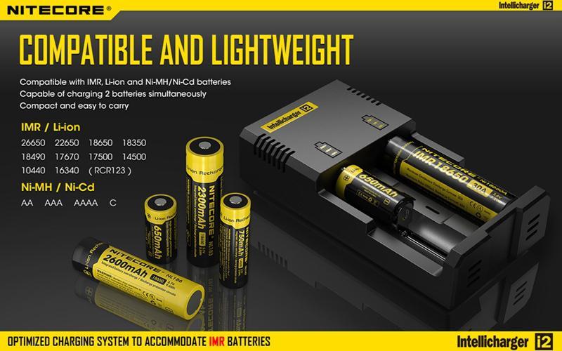 Nitecore I2 범용 충전기 16340 18650 14500 26650 배터리 2 1 개 Muliti 기능에 Intellicharger와 소매 패키지로에 대한