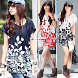 2015 Batwing Chiffon Blouse For Women Beautiful Flowers Printed s Ladiesu0027  Plus Size Tops Tees b9 SV001046