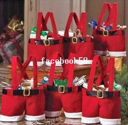 free christmas gifts for children Australia - Santa Pants Christmas Gifts Decoration Christmas Wedding Candy Bags Lovely Gifts For Children 3pcs set 18X15CM Free Shipping