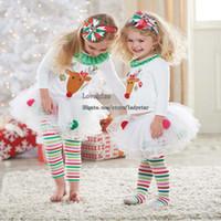 ingrosso collant t-shirt ragazze-Abiti natalizi per bambini Abbigliamento natalizio per bambini Occasioni speciali per bambini Abiti per ragazze T-shirt bianche Leggings per bambini Collant Set per bambini