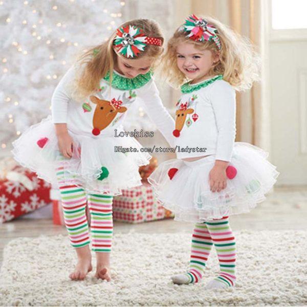 Kinder Weihnachten Kleidung Kinder Weihnachten Kleidung Kinder besondere Anlässe Mädchen Outfits Weiß T Shirts Baby Leggings Strumpfhosen Kinder Sets
