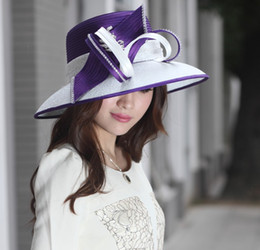 Wholesale Kentucky Derby Purple Dresses - 2015 New Lady Satin Dress Derby Wedding Church Millinery 100% Polyester Handmade Wide Brim Women Mix Purple White Formal Hats Jewelry ACS