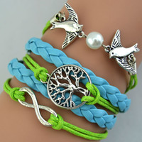 Wholesale Pigeon Mix - Beautiful Inifity Bracelets Leather Weave Bracelets Charm Pigeon Pearl Wisdom Life Tree Pink Blue Mix Colors Cheap Wrist Jewellery