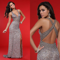 Wholesale Bg Haute - 2017 Sexy Silver Evening Dresses Deep V Neck Cross Back High Split Side Prom Dresses with Sequins Beads Sweep Train BG haute EM02128