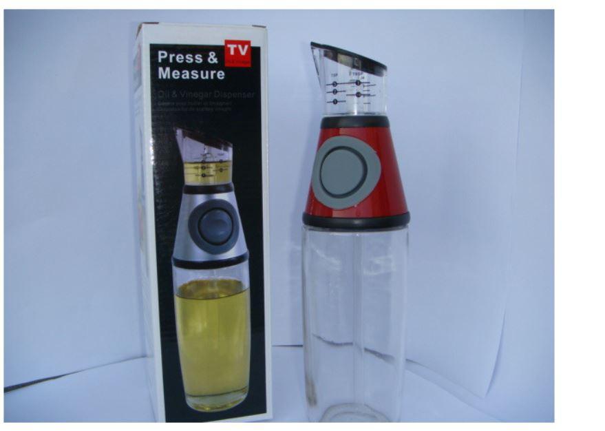 Kitchen Tools Controllable Press Measure Oil & Vinegar Gravy Boats Dispenser Bottle Pump Glass Container 500ML