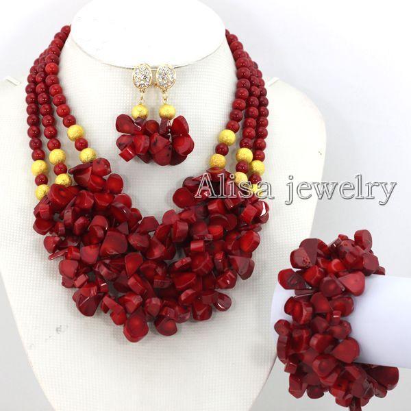 compre fabuloso casamento nigeriano africano coral beads jóias set
