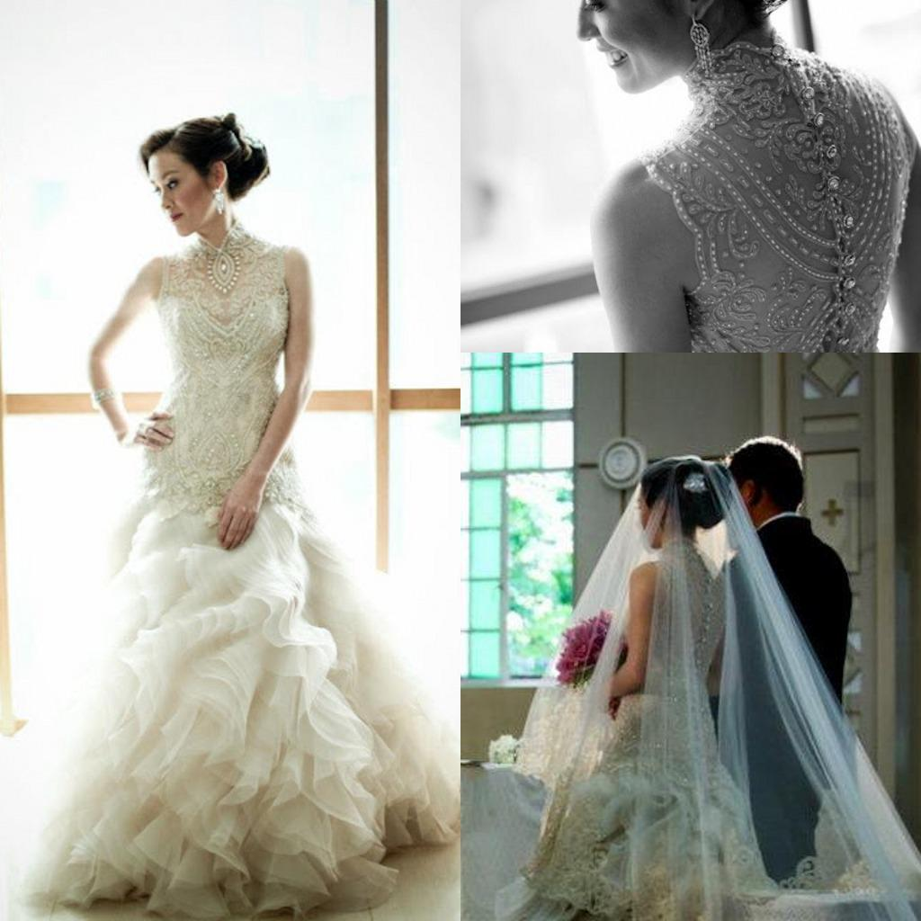 Veluz Reyes Wedding Gown: 2014 Veluz Reyes Crystal Wedding Dresses High Collar