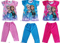 Wholesale Leisure Suit Models - 9%off!In Stock!Fashion!2014 summer explosion models girls FROZEN ELSA ANNA Princess leisure suits !DROP SHIPPING!hot sale,3set 6pcs,XB