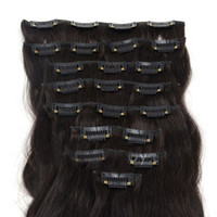 Wholesale Oxette hair extensions Grade A inch inch set Clips in on remy Human Hair Extensions full head dark brown color body wavy