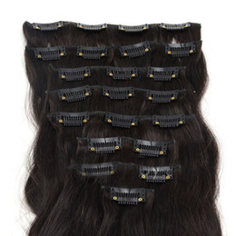 Wholesale Brazilian Straight Hair 5a - Oxette hair extensions Grade 5A 15inch - 24inch 7pcs set Clips in on 100% remy Human Hair Extensions full head dark brown #2 color body wavy