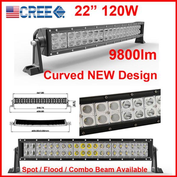 "DHL 22"" 120W CURVED CREE 40LED*(3W) Work Light Bar OffRoad SUV ATV 4WD 4x4 9-32V Spot / Flood / Combo Beam 9800lm IP68 Drive JEEP NEW Design"