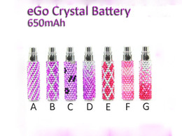 Wholesale Ego T Crystal Battery - AAAA Quality Luxury Crystal diamond E-Cigarette battery 650 900 1100mAh for EGO-T kit Multi colors Diamond ego battery EGO T battery