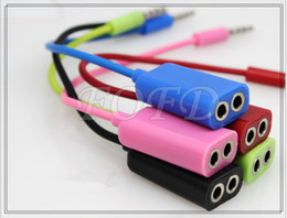 Wholesale Iphone Earphone Splitter - male to 2 female aux cable earphone splitter adapter cable Audio bypass line for iphone 4 5 ipod ipad