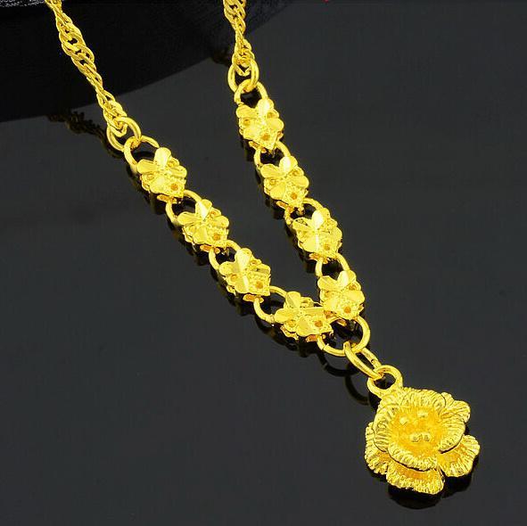 الجملة الزفاف روز زهرة قلادة قلادة للنساء ، مطلية بالذهب الكولي ، 24 كيلو الذهب شغلها سلسلة لعام 2016 المجوهرات