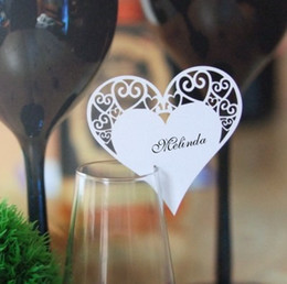 Wholesale Gold Name Plates - 100-Laser cut Love Heart Wedding Name place cards ,wine glass cards for Wedding table Decoration