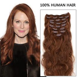 Wholesale Virgin Hair Deep Wave Clips - Oxette 15inch 18inch 20inch 22inch 24inch 100% Human Hair Clip Remy Hair Extension #33 Dark Auburn clip in Brazilian virgin hair body wave