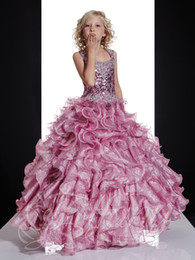 Wholesale Train Taffeta Flower Girl - 2015 Dazzling Designer Girl's Pageant Dresses Beads Sequins Taffeta Ball Gown Little Rosie Pageant Dress Flower Gir'sl Gowns for Girl MC45