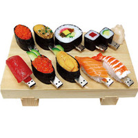 Wholesale Sushi Boxes Wholesale - Genuine capacity 2GB 4GB 8GB 16GB USB Flash Drive plastic simulation sushi Gift Drop Shipping + Tin Box