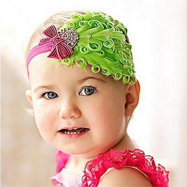 Colorful Baby Feather Flower Diamond Headband Headwear Neonato Bambino Ragazze Piuma Fascia Head Wear Fascia capelli Fotografia Prop