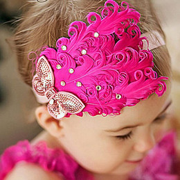 Fleurs De Plumes De Diamant Pas Cher-Fashion Baby Toddler Feather Flower Headband Infant Diamond Bow Headwear Hair Band Accessoires pour cheveux mignons pour enfants 9colors Best gifts