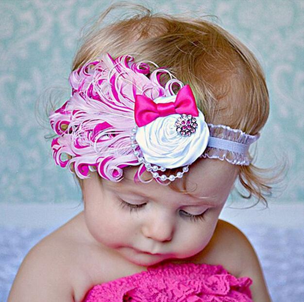 Красочные детские перо цветок Алмаз оголовье головные уборы новорожденных малышей девочек перо оголовье головы носить волосы группа фото опора