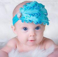 Wholesale Diamond Feather Headband - Colorful Baby Feather Flower Diamond Headband Headwear Newborn Toddler Girls Feather Headband Head Wear Hair band Photography Prop