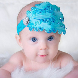 Wholesale Baby Girl Hair Bands Feathers - Colorful Baby Feather Flower Diamond Headband Headwear Newborn Toddler Girls Feather Headband Head Wear Hair band Photography Prop