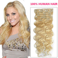 Wholesale Remi Body Wave - Oxette 613# Color Clips in Hair Extensions Brazilian Remy Hair weave Premium Hair Weft remi hair extensions blonde color wavy style