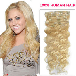 Wholesale Remi Indian Hair - Oxette 613# Color Clips in Hair Extensions Brazilian Remy Hair weave Premium Hair Weft remi hair extensions blonde color wavy style