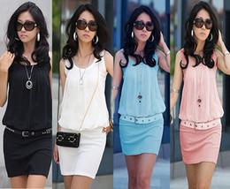 Wholesale Pink Sundress Women - New !! 2017 Summer Women's Mini Dress Crew Neck Chiffon Sleeveless Causal Tunic Sundress 4 Sizes free shipping with tracking number 963