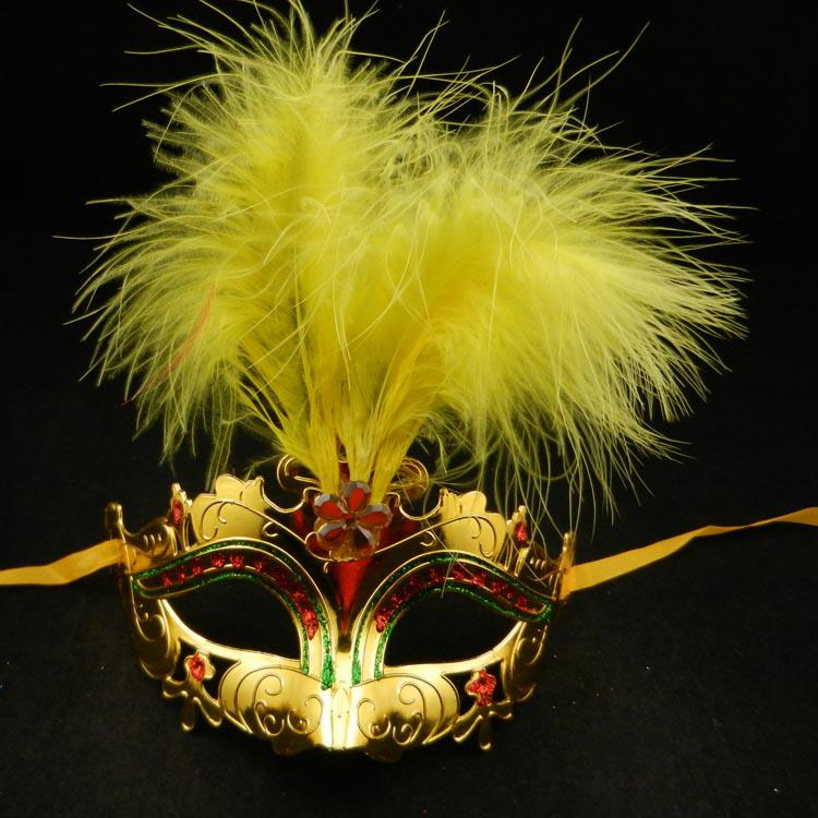 Long Feather Mask gold plating half face Party Mask sexy woman halloween costume carnival mardi gras party mask mix color